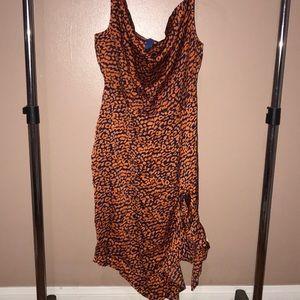Leopard Print Satin Dress